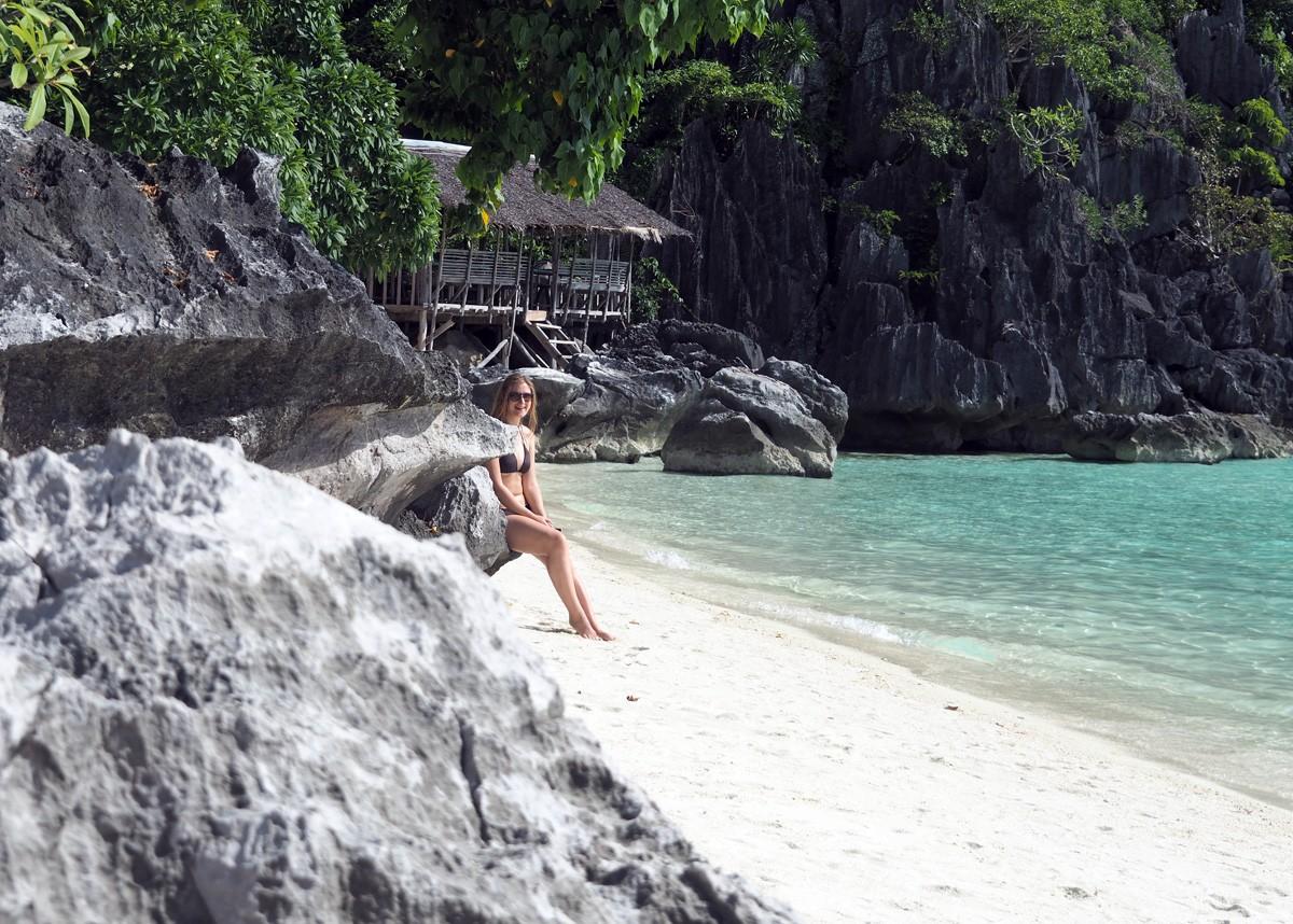 Nastya on banul beach, Palawan - Travelblogstories