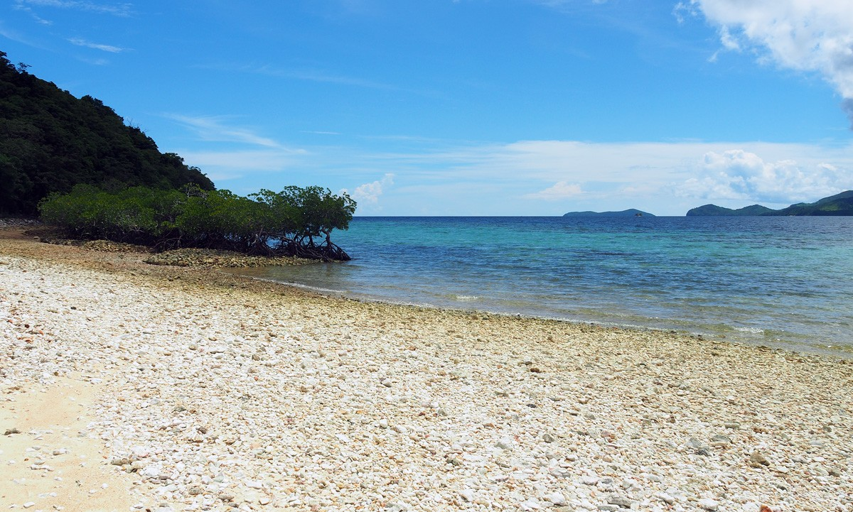 Cheron island beach with corals