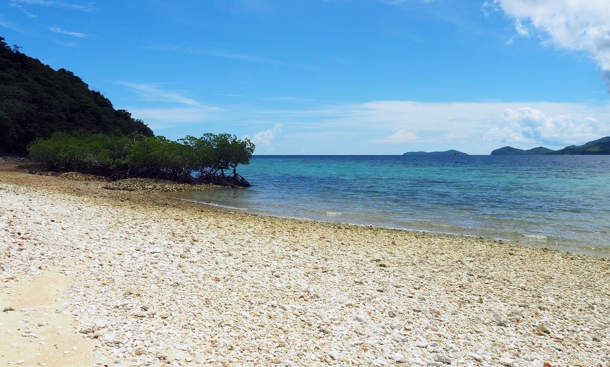 Cheron island beach with corals