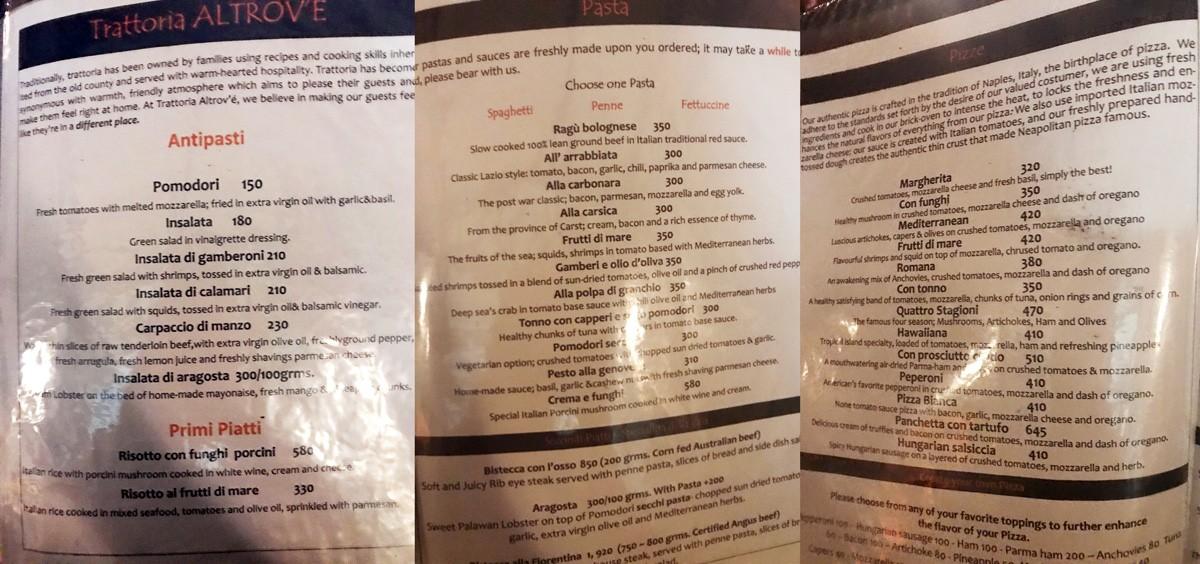 Altrove Coron menu Philippines
