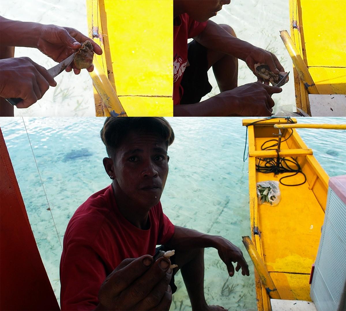 Boatman with mollusk on Cheron island
